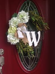 initial wreath hydrangea wreath welcome wreath front door