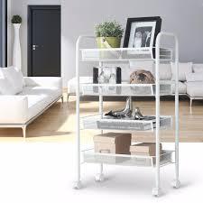 Rolling Bathroom Storage Cart by Langria 4 Tier Metal Mesh Rolling Cart Trolley Storage Holders