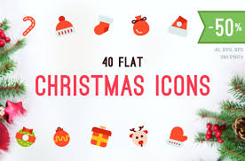 merry christmas flat vector icons icons creative market