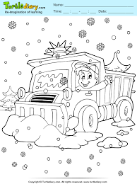 snow truck coloring sheet turtle diary
