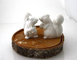 squirrel cake topper wedding cake topper white squirrels ceramic squirrel set of two