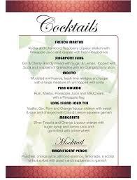 wedding drink menu template drinks menu template europe tripsleep co