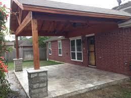 Patio Covers Houston Tx by Gabled Cedar Patio Cover With Travertine Paver Patio And Chopped