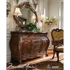 aico palais royale sideboard u0026 mirror in rococo cognac finish for