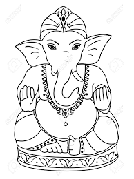 vector lord ganesha outline sketch ganesha coloring book