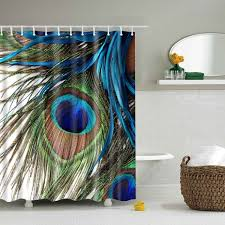 2018 waterproof peacock feather printing shower curtain colormix l
