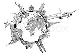 airplane travel in the world around the global with sketch