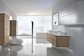 bathroom white freestanding bathtub white rectangle sink brown