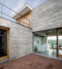 exterior modern courtyard details applied gravels glass and