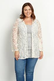 ivory lace bell sleeve plus size cardigan