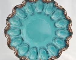 deviled egg serving platter pottery egg plate etsy