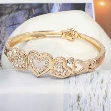 gold hand bracelet images Vintage simple gold silver love crystal heart bow knot bracelet jpg