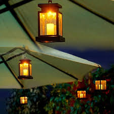 home house outdoor candle lantern solar powered landscape umbrella