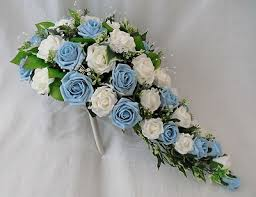 Blue Wedding Flowers Wedding Flowers Brides Teardrop Bouquet In Ivory U0026 Baby Blue Roses