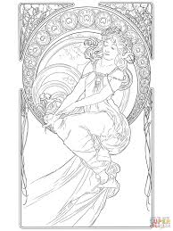 painting by alphonse mucha coloring page free printable coloring
