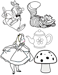 coloring download alice in wonderland tea party coloring pages