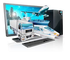 bureau logistique concept de logistique de pc de bureau illustration de vecteur