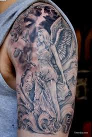 pretty grey ink angel half sleeve tattoo for dudes tattooshunter com