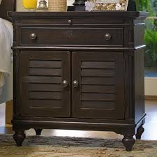 Nightstand With Shelf Louvered Door Nightstand With Pull Out Shelf By Paula Deen By