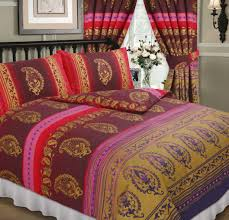 fuschia pink colour paisley design reversible bedding duvet quilt