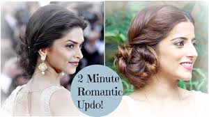 Long Hairstyles Easy Updos by 2 Minute Romantic Bun Hairstyle Deepika Padukone Easy Updo
