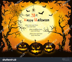 halloween trees pumpkins background scary pumpkins full moon trees and bats orange grungy halloween