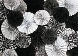 white paper fans black and white paper fan backdrop set of 29 fans