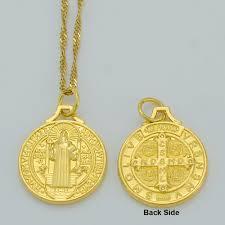 catholic pendants anniyo benedict medal pendant necklace gold color catholic