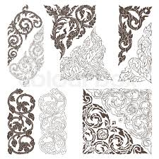 vector set of traditional thai ornaments on white background eps