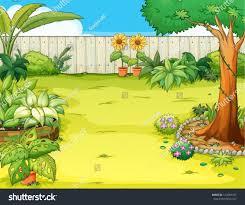 Beautiful Garden Images Illustration Beautiful Garden Various Plants Stock Vector