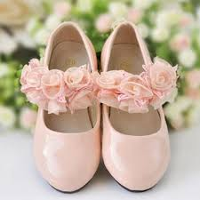 ivory ore pink princess girls leather shoes with hand made flowers