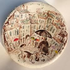painted platter painted ceramic plate ceramic by natvasceramics on zibbet