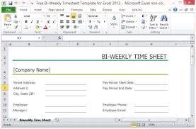 Excel Work Timesheet Template Free Bi Weekly Timesheet Template For Excel 2013