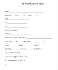 Vendor Information Sheet Template Sle Quote Sheet 10 Exles Format