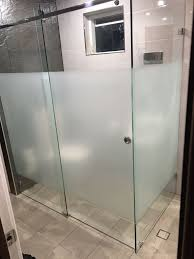 Frameless Shower Screen with Privacy Film  Chelsea Aluminium
