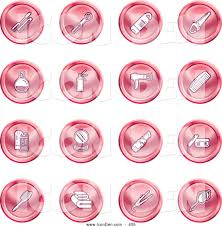 clip art of a collection of red coin shaped beauty icons of