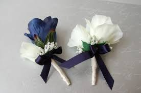 Royal Blue Corsage And Boutonniere Amazon Com Navy Blue And Ivory Rose Corsage U0026 Boutonniere Set