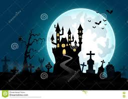 halloween background with haunted house and graveyard stock vector