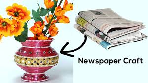 best out of waste diy flower vase with newspaper craft youtube