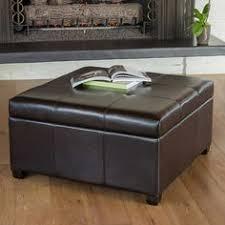 tucson black leather storage ottoman coffee table ottomans