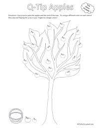 fall q tip painting apple tree