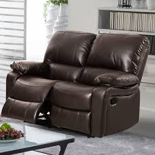 Leather Loveseats Generic Evelyn Leather Gel Reclining Loveseat Dark Brown
