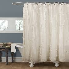 bathroom elegant white ruffle shower curtains with curved shower