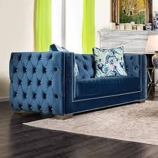 sofa sm2280 in lapis blue velvet fabric w options