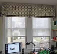 window treatments valance over blinds grey and white and brown