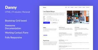 web developer resume danny web developer resume html template by aspirity themeforest