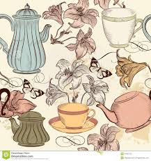 seamless wallpaper background with hand drawn cups teapots and