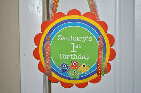 Boy Birthday Decorations Boys Birthday Party Door Sign Monsters Aliens Personalized