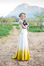yellow wedding dress crush dip dye wedding dresses diy
