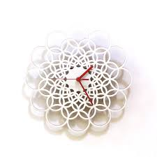 clock made of clocks rings white unique contemporary wooden wall clock made of